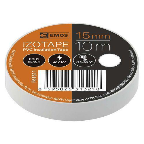 Elektroizolační PVC páska Emos, šířka 15 mm, 10 ks, bílá