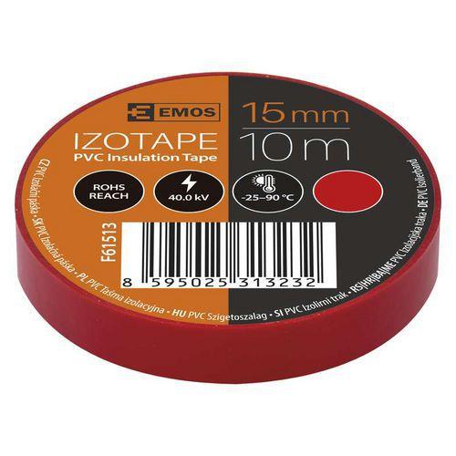 Elektroizolační PVC páska Emos, šířka 15 mm, 10 ks, červená