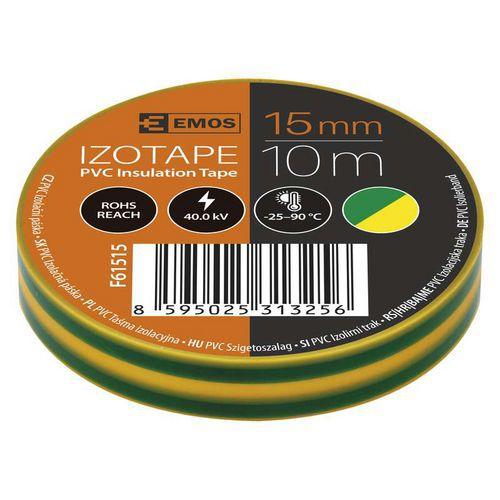 Elektroizolační PVC páska Emos, šířka 15 mm, 10 ks, zelenožlutá