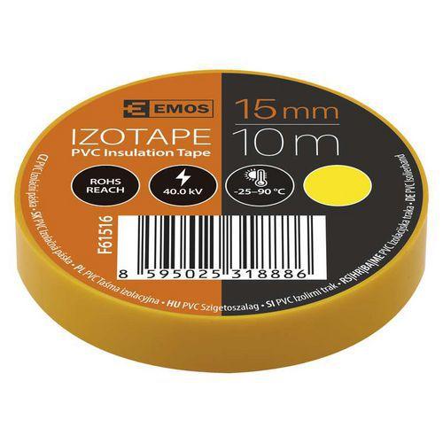 Elektroizolační PVC páska Emos, šířka 15 mm, 10 ks, žlutá