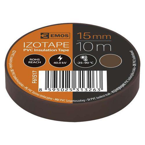 Elektroizolační PVC páska Emos, šířka 15 mm, 10 ks, hnědá