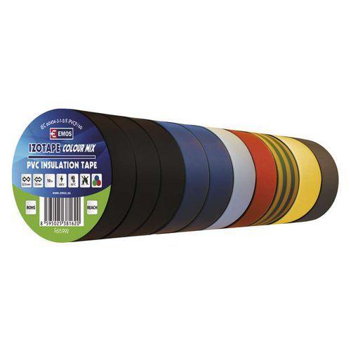 Elektroizolační PVC páska Emos, šířka 15 mm, 10 ks, barevný mix