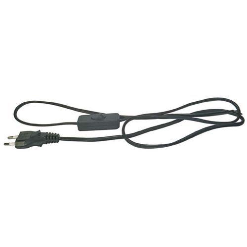 Flexo šňůra PVC 2x0,75 mm, 2 m černá s vypínačem