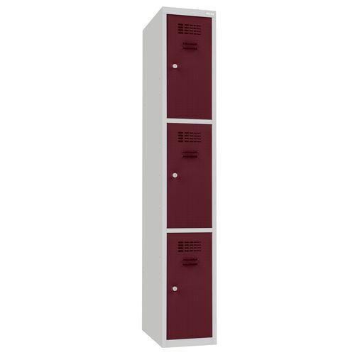Svařovaná šatní skříň Dean, 3 boxy, cylindrický zámek, šedá/víno