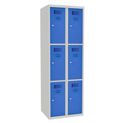 Svařovaná šatní skříň Rob, 6 boxů, cylindrický zámek, šedá/světl