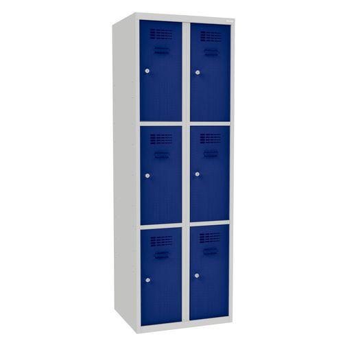 Svařovaná šatní skříň Rob, 6 boxů, cylindrický zámek, šedá/tmavě