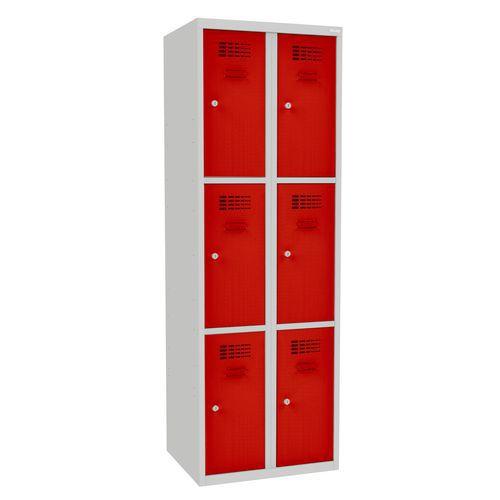 Svařovaná šatní skříň Rob, 6 boxů, cylindrický zámek, šedá/červe