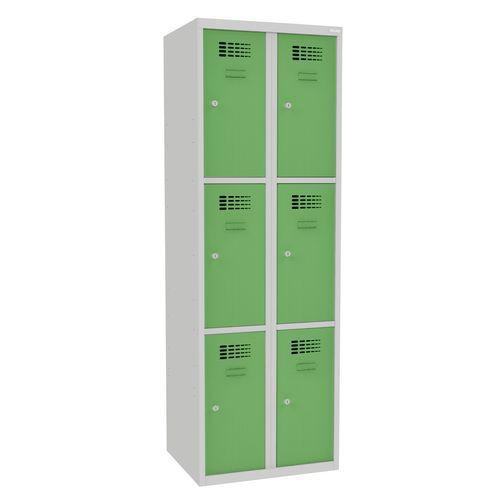 Svařovaná šatní skříň Rob, 6 boxů, cylindrický zámek, šedá/zelen