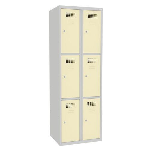 Svařovaná šatní skříň Rob, 6 boxů, cylindrický zámek, šedá/béžov