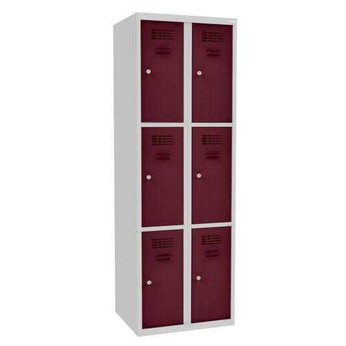 Svařovaná šatní skříň Rob, 6 boxů, cylindrický zámek, šedá/vínov