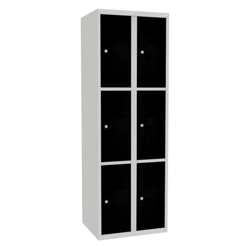 Svařovaná šatní skříň Rob, 6 boxů, cylindrický zámek, šedá/černá