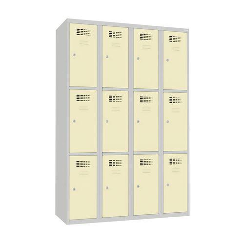 Svařovaná šatní skříň Will, 12 boxů, cylindrický zámek, šedá/béž