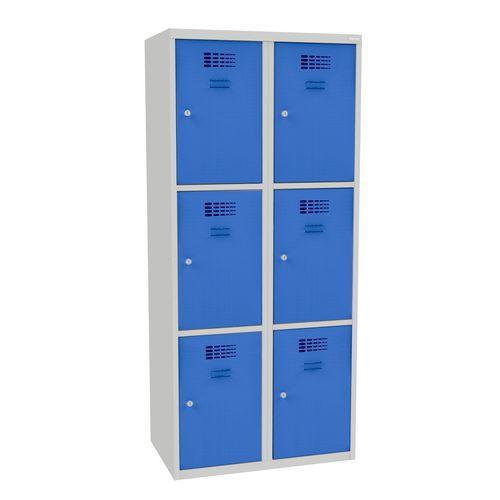 Svařovaná šatní skříň Jared, 6 boxů, cylindrický zámek, šedá/svě