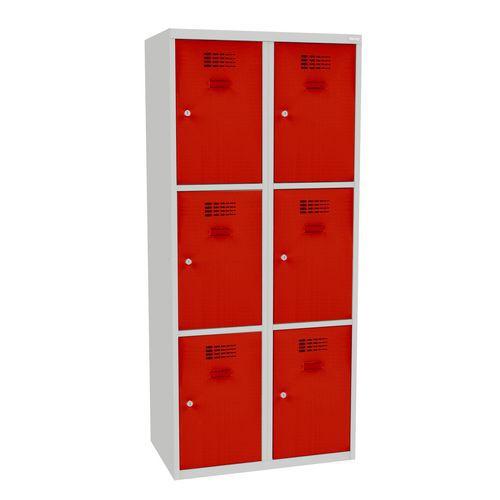Svařovaná šatní skříň Jared, 6 boxů, šedá/červená