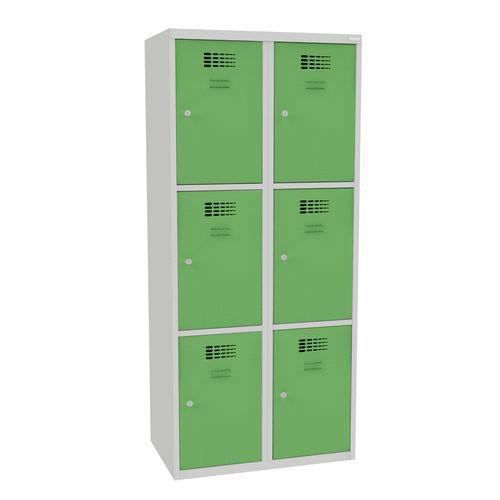 Svařovaná šatní skříň Jared, 6 boxů, cylindrický zámek, šedá/zel
