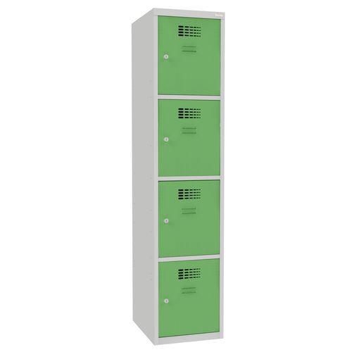 Svařovaná šatní skříň Oskar, 4 boxy, šedá/zelená