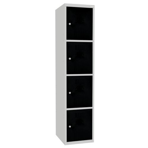 Svařovaná šatní skříň Oskar, 4 boxy, šedá/černá