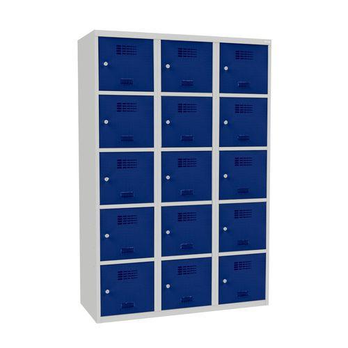 Svařovaná šatní skříň Adam, 15 boxů, šedá/tmavě modrá