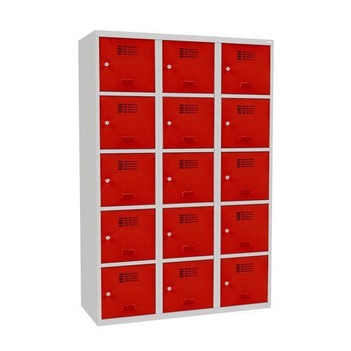 Svařovaná šatní skříň Adam, 15 boxů, cylindrický zámek šedá/červ