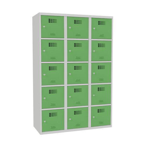 Svařovaná šatní skříň Adam, 15 boxů, šedá/zelená