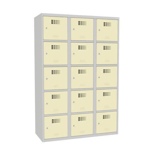 Svařovaná šatní skříň Adam, 15 boxů, cylindrický zámek šedá/béžo