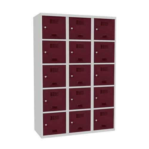 Svařovaná šatní skříň Adam, 15 boxů, cylindrický zámek šedá/víno