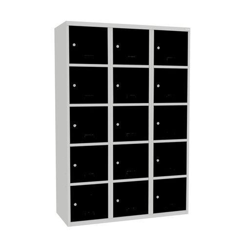 Svařovaná šatní skříň Adam, 15 boxů, cylindrický zámek šedá/čern