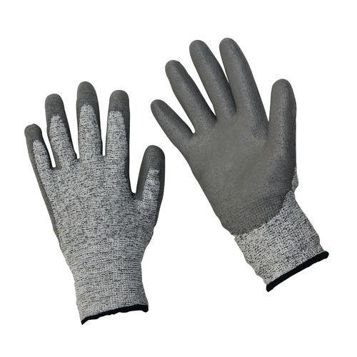 Polyethylenové rukavice Manutan polomáčené v polyuretanu, šedé,