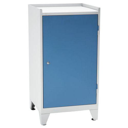 Kovová dílenská skříň na nářadí Manutan, 102 x 53,3 x 50 cm, šedá/modrá - Prodloužená záruka na 10 let