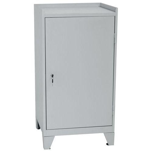 Kovová dílenská skříň na nářadí Manutan, 102 x 53,3 x 50 cm, šedá/šedá - Prodloužená záruka na 10 let