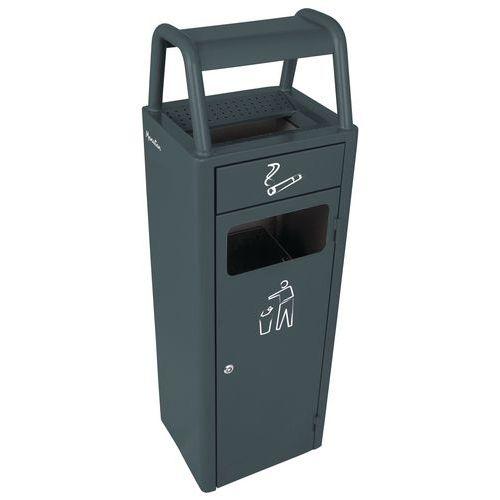 Kovový venkovní odpadkový koš Manutan s popelníkem, 24 litrů, antracit