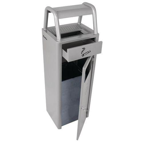 Kovový venkovní odpadkový koš Manutan s popelníkem, 24 litrů, šedý