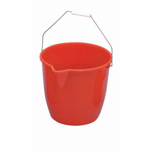 Plastový kbelík Manutan s výlevkou, 12 l, červený