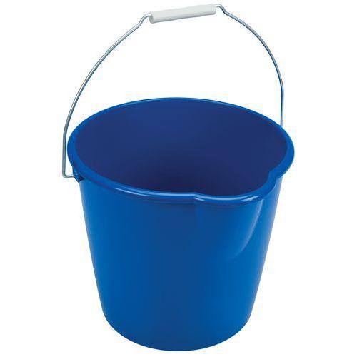 Plastový kbelík Manutan s výlevkou, 12 l, modrý