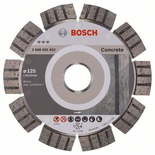 Bosch - Diamantový řezný kotouč Best for Concrete 125 x 22,23 x 2,2 x 12 mm