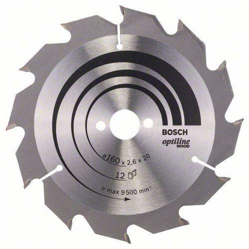 Bosch - Pilový kotouč Optiline Wood 160 x 20/16 x 2,6 mm, 12