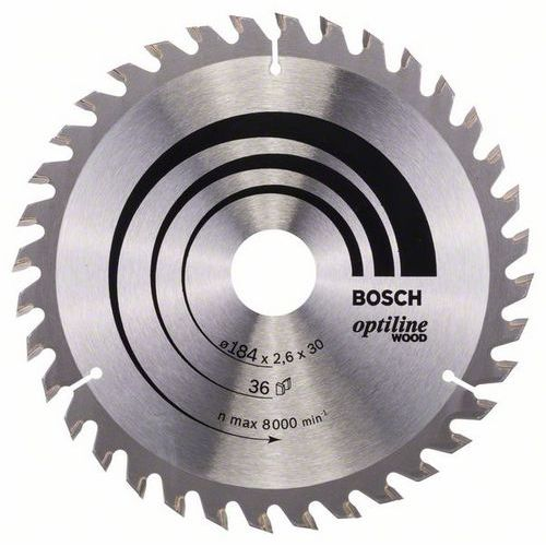 Bosch - Pilový kotouč Optiline Wood 184 x 30 x 2,6 mm, 36