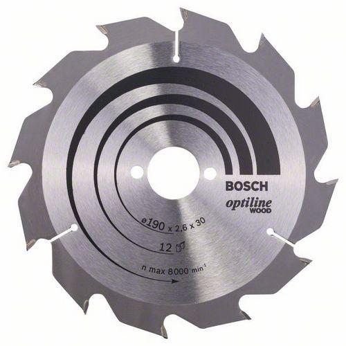 Bosch - Pilový kotouč Optiline Wood 190 x 30 x 2,6 mm, 12