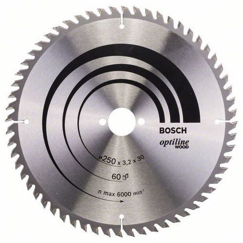 Bosch - Pilový kotouč Optiline Wood 250 x 30 x 3,2 mm, 60