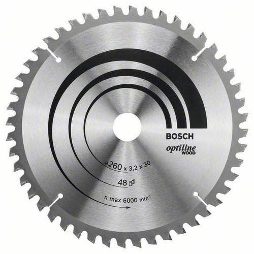 Bosch - Pilový kotouč Optiline Wood 260 x 30 x 3,2 mm, 48