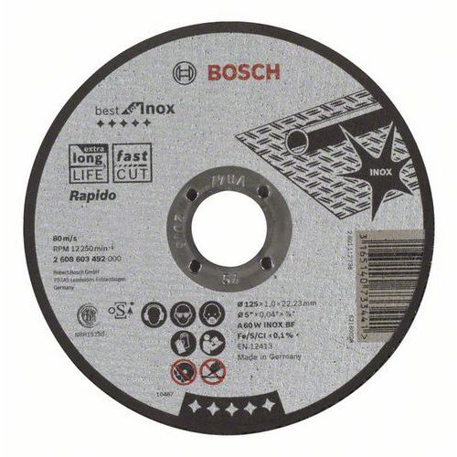 Bosch - Řezný kotouč rovný Best for Inox - Rapido A 60 W INOX BF, 125 mm, 1,0 mm, 25 BAL