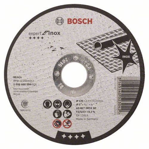 Bosch - Řezný kotouč rovný Expert for Inox AS 46 T INOX BF, 125 mm, 2,0 mm, 25 BAL