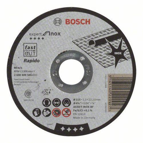 Bosch - Řezný kotouč rovný Expert for Inox - Rapido AS 60 T INOX BF, 115 mm, 1,0 mm, 25 BAL