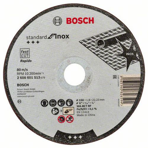Bosch - Řezný kotouč rovný Standard for Inox WA 46 T BF, 150 mm, 22,23 mm, 1,6 mm, 50 BAL
