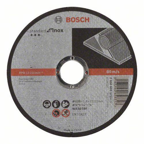 Bosch - Řezný kotouč rovný Standard for Inox WA 60 T BF, 125 mm, 22,23 mm, 1,6 mm, 50 BAL