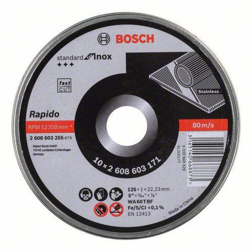 Bosch - Řezný kotouč rovný Standard for Inox - Rapido WA 60 T BF, 125 mm, 22,23 mm, 1,0 mm, 10ks x 10 BAL