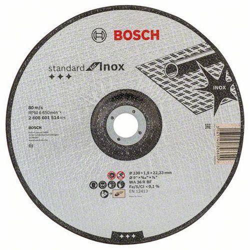 Bosch - Řezný kotouč na nerezovou ocel, profilovaný Standard for Inox WA 36 R BF, 230 mm, 22,23 mm, 1,9 mm, 25 BAL