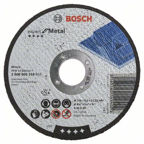 Bosch - Řezný kotouč rovný Expert for Metal A 30 S BF, 115 mm, 2,5 mm, 25 BAL