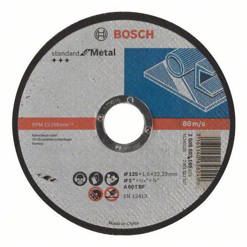 Bosch - Řezný kotouč rovný Standard for Metal A 60 T BF, 125 mm, 22,23 mm, 1,6 mm, 50 BAL