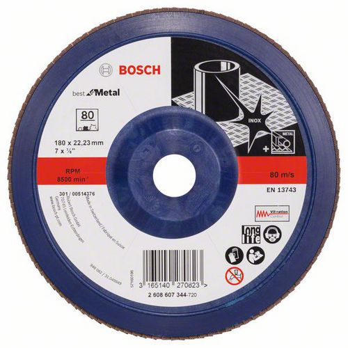 Bosch - Lamelový brusný kotouč X571, Best for Metal 180 mm, G80,